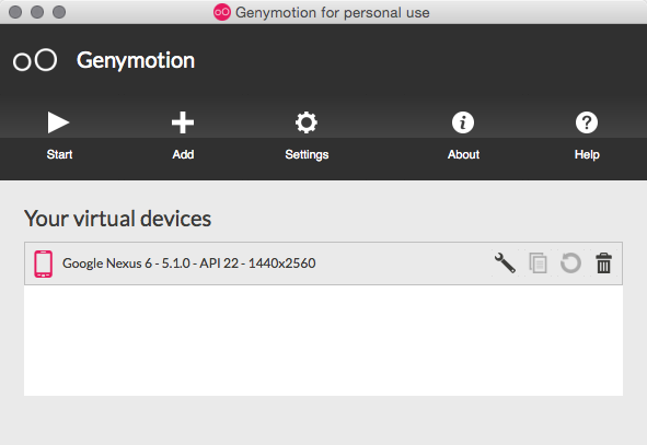 Genymotion Google Nexus 6 5.1.0