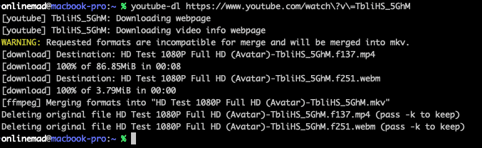 youtube-dl - command line 下載 YouTube 影片的好幫手